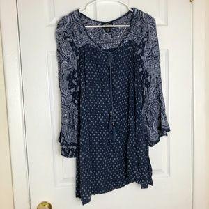 Angie Navy Paisley Print Long Sleeve Mini Dress
